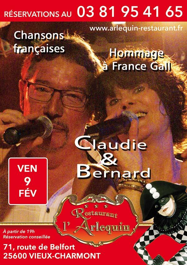 Affiche Claudie et Bernard le 9 février