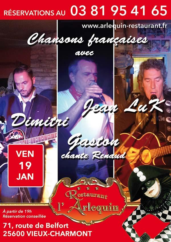 Affiche soirée Jean Luk Dimitri et Gaston du 19 janvier