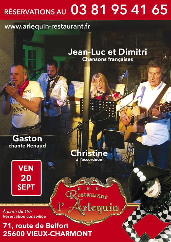 Jean Luc, Dimitri, Gaston chante Renaud et Christine à l'accordéon