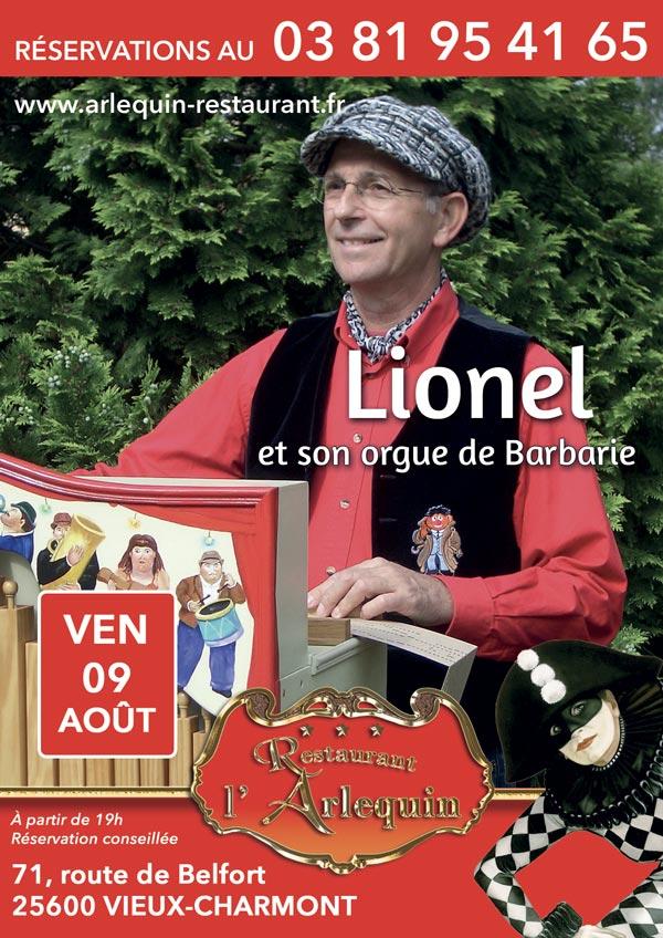 Lionel et son orgue de Barbarie le 9 août