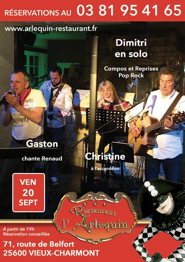 Dimitri, Gaston chante Renaud et Christine à l'accordéon