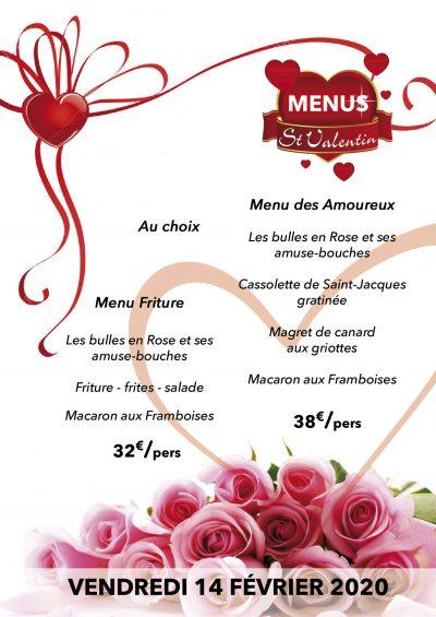 les 2 menus spéciaux de la saint-valentin 2020