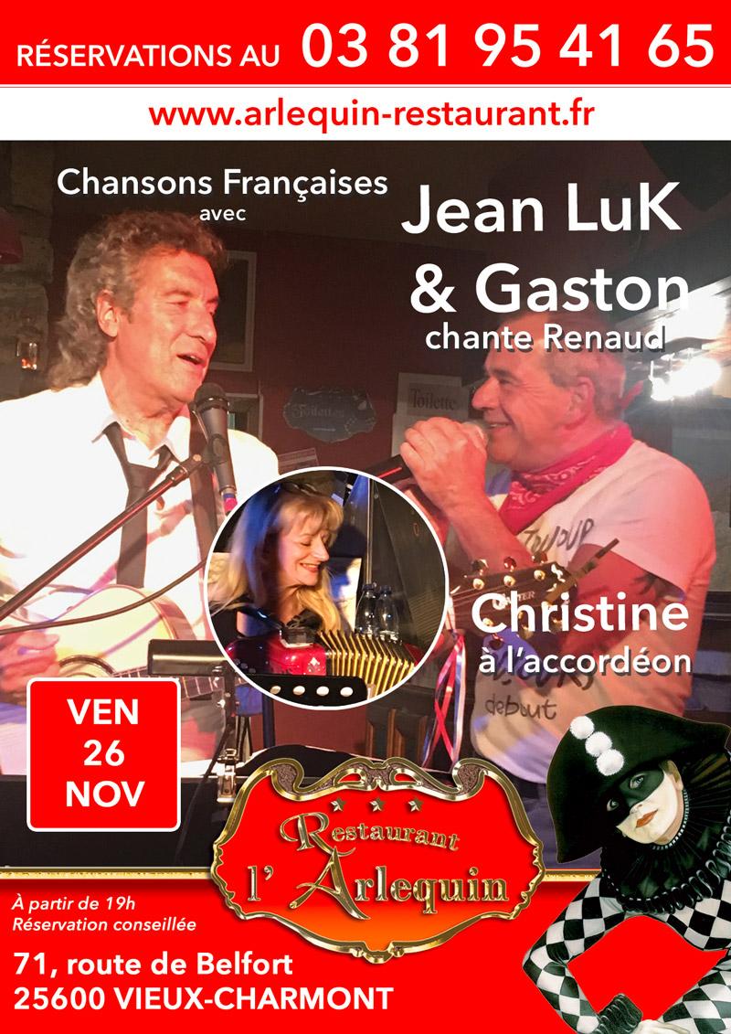 Jean luc Nougaret, Gaston chante Renaud et Christine Alonzo à l'accordéon le 26 Novembre à l'Arlequin