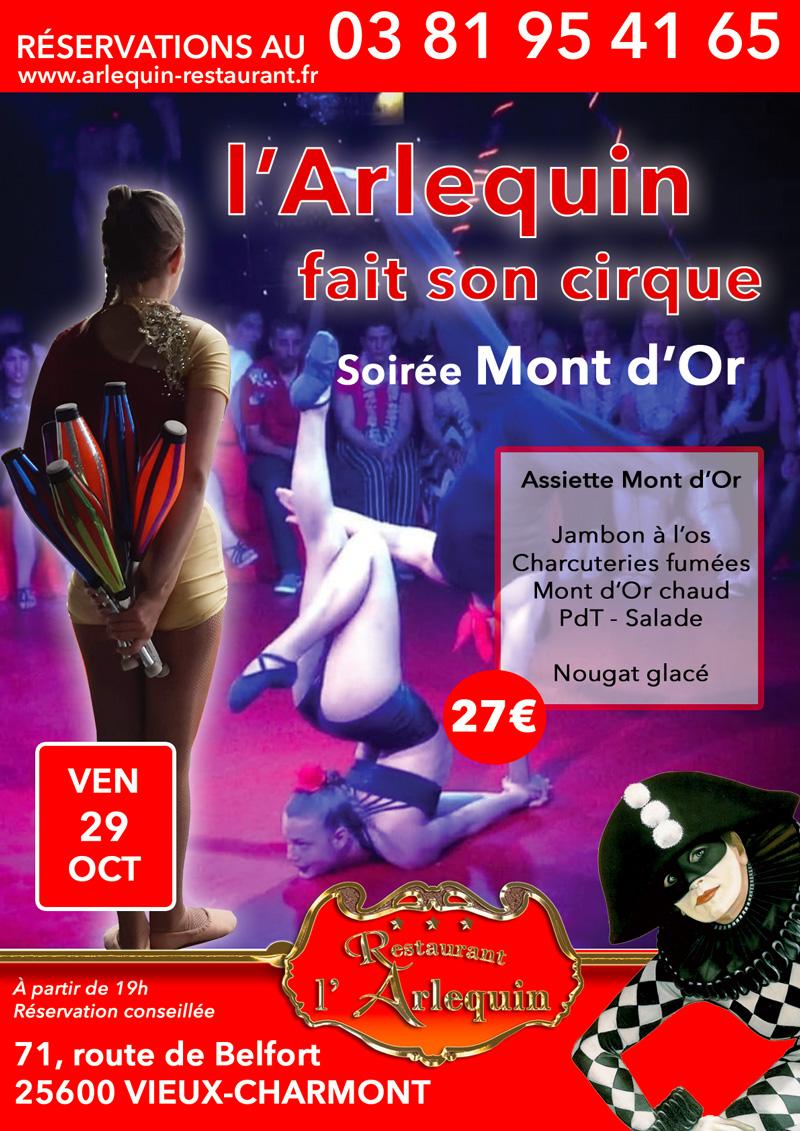 Cirque à l'Arlequin le 29 octobre - Soirée Mont d'Or